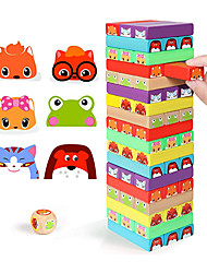 cheap -Colored Stacking Game Wooden Building Blocks Tower Board Games for Kids Adults 54 Pieces (Colorful Stacking Gane)