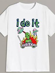 cheap -Men's Unisex T shirt Hot Stamping Graphic Prints Alien Plus Size Print Short Sleeve Daily Tops 100% Cotton Basic Fashion Classic White