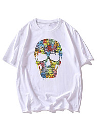 cheap -Men's Unisex T shirt Hot Stamping Skull Plus Size Print Short Sleeve Casual Tops 100% Cotton Basic Casual Fashion White