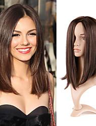 cheap -Natural Straight Long Brown Wig Female Long Straight Hair Chemical Fiber Mechanism Wig Brown Center Split Straight Hair Clavicle Wig Hair Set