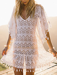 cheap -Women's Basic Boho Cover-Up Swimsuit Solid Colored Normal Swimwear Bathing Suits White