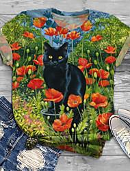 cheap -Women's Plus Size Tops T shirt Print Cat Graphic Animal Large Size Crewneck Short Sleeve Big Size XL XXL 3XL 4XL 5XL Green