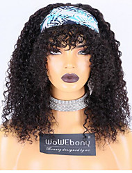 cheap -WoWEbony Brazilian Remy Hair Curly Headband Wigs With Free Bangs and Free Head Band