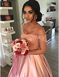 cheap -Princess A-Line Wedding Dresses Off Shoulder Court Train Lace Satin Sleeveless Country Romantic with Beading Appliques 2021