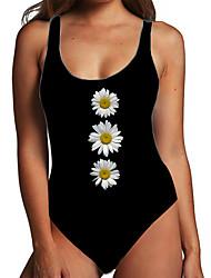 cheap -Women's One Piece Monokini Swimsuit Tummy Control Print Floral Yellow Black Beige Swimwear Bodysuit Strap Bathing Suits New Fashion Sexy / Padless