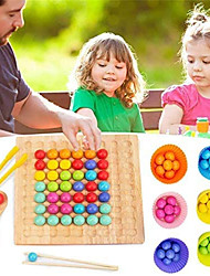 cheap -Wooden Clip Beads Board Game, Montessori Educational Wooden Toy - Clip Beads Game Puzzle Board - Wooden Clip Beads Rainbow Toy - Matching Game Memory Toy - Puzzle Board Game - 27.3 x 20.7 x 5 cm