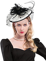 cheap -Linen / Cotton Blend Headpiece with Feather 1 PC Party / Evening / Horse Race Headpiece