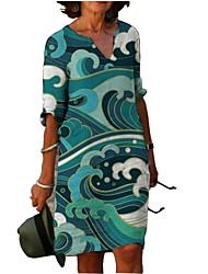 cheap -Women's A Line Dress Knee Length Dress Green 3/4 Length Sleeve Geometric Print Spring Summer V Neck Formal 2021 S M L XL XXL 3XL