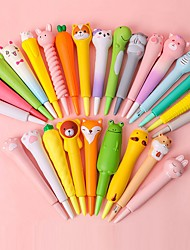 cheap -4PC Novelty Cartoon Animals Stress Relieves Squishy Gel Pen Creative Squeeze Foam Pen Signature Stationery School Office Supply