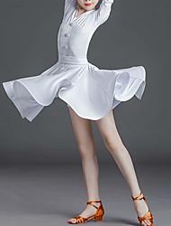 cheap -Latin Dance Dress Pleats Solid Girls' Training Performance Half Sleeve Natural Bamboo Fiber