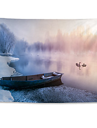 cheap -Wall Tapestry Art Decor Blanket Curtain Hanging Home Bedroom Living Room Polyester Winter Heavy Snow Rime Small River Boat Swans