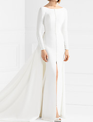 cheap -Sheath / Column Wedding Dresses Jewel Neck Sweep / Brush Train Italy Satin Long Sleeve Country Simple with Split Front 2021
