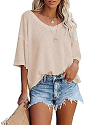 cheap -ihot women's fashion waffle knit tops v neck half sleeve off the shoulder pullover casual oversized sweater shirts apricot large