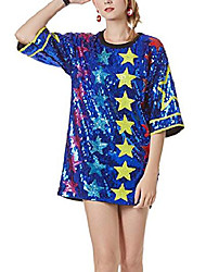 cheap -womens ins fashion sparkle glitter sequins paillette colorful stars letters printed hip hop loose long tunic shirts tank tops bar party clubwear dress blue
