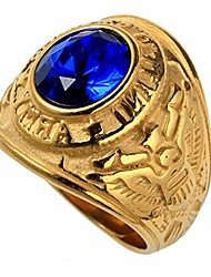cheap -pamtier men's stainless steel us army veteran hawk eagle ring with oval cz gemstone gold blue size 7