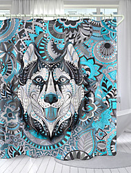cheap -Flower And Grass Wolf Head Digital Printing Shower Curtain Shower Curtains  Hooks Modern Polyester New Design