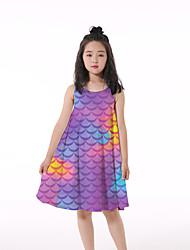 cheap -Kids Little Girls' Dress Graphic Print Purple Knee-length Sleeveless Flower Active Dresses Regular Fit 5-12 Years