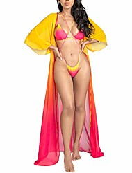 cheap -pesfeel swimsuit cover ups for women sexy shawl open front long 3 pieces high waist maxi thong bikini set