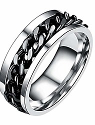 cheap -Mens Spinner Rings, Fidget Ring, Stainless Steel Band, Titanium Steel Chain Rotation Ring(Black,11.5)