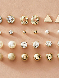 cheap -Women's Stud Earrings Earrings Earrings Set Fashion European Imitation Pearl Imitation Diamond Earrings Jewelry Silver / Gold For 12 Pairs