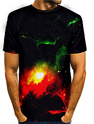 cheap -Men's T shirt 3D Print Graphic 3D 3D Print Short Sleeve Daily Tops Basic Casual Black