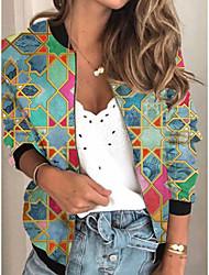cheap -Women's Geometric Print Active Spring &  Fall Jacket Regular Daily Long Sleeve Air Layer Fabric Coat Tops Green