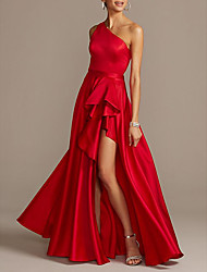 cheap -A-Line Beautiful Back Sexy Prom Formal Evening Dress One Shoulder Sleeveless Asymmetrical Satin with Pleats Split 2021