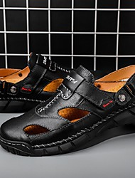 cheap -Men's Sandals Casual Daily Outdoor Walking Shoes Cowhide Breathable Non-slipping Shock Absorbing Black Brown Summer