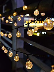 cheap -Solar String Lights LED Outdoor Lights 6.5m 30 LEDs Set Mounting Bracket Warm White Wedding Party Holiday Patio Garden 3V