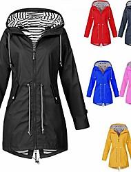cheap -women's warm wool coat solid waterproof and windproof velvet outdoor plus size hooded raincoat parka winter jacket klgda red