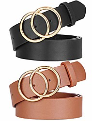 cheap -women leather double o-ring belt fashion golden designer buckle belt for jeans pants dresses by , black+brown, s 31-35 inches