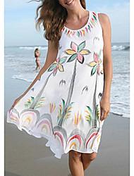 cheap -Women's Sheath Dress Short Mini Dress White Sleeveless Floral Summer cold shoulder Sexy 2021 S M L XL XXL 3XL
