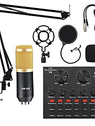 cheap -BM800 Studio Microphone Kits With Filter V8 Sound Card Condenser Microphone Bundle Record Ktv Karaoke Smartphone Microphone
