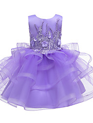 cheap -Ball Gown Knee Length Wedding / Event / Party Flower Girl Dresses - Tulle / Polyester Sleeveless Jewel Neck with Faux Pearl / Tier / Embroidery