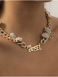 cheap -Choker Necklace Pendant Necklace Chain Necklace Women's Tennis Chain Cubic Zirconia White Imitation Diamond Artistic Simple Fashion Vintage Trendy Gold Silver 40 cm Necklace Jewelry 1pc for Street
