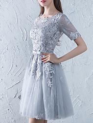 cheap -A-Line Jewel Neck Short / Mini Lace / Tulle Bridesmaid Dress with Sash / Ribbon / Appliques