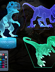 cheap -Dinosaur 3D Nightlight Night Light For Children Color-Changing Adorable Remote Control Touch Dimmer Gradient Mode Thanksgiving Day Christmas AA Batteries Powered USB 3pcs