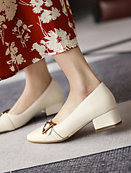 cheap -Women's Heels Block Heel Square Toe Microfiber Buckle Solid Colored Wine Black Beige
