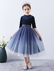 cheap -Princess / A-Line Jewel Neck Ankle Length Tulle / Velvet Junior Bridesmaid Dress with Sash / Ribbon / Pattern / Print