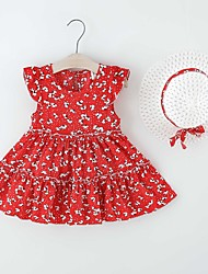 cheap -Kids Little Girls' Dress Flower Print Red Khaki Knee-length Sleeveless Regular Dresses Summer Loose 2-6 Years