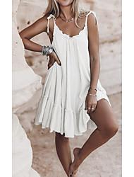cheap -Women's Shift Dress Short Mini Dress White Black Brown Sleeveless Solid Color Backless Summer V Neck Casual 2021 S M L XL