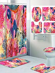 cheap -Beautiful Geometric Pattern Flower Print Bathroom Shower Curtain Leisure Toilet Four-piece Design