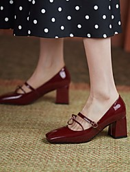cheap -Women's Heels Chunky Heel Square Toe PU Synthetics Wine Almond