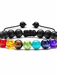 cheap -mens womens bracelet,8mm tiger eye lava rock stone bracelets essential oil diffuser bracelet braided rope natural stone yoga beads bracelet bangle gifts for men women(black matte)