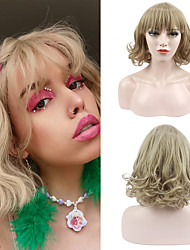 cheap -Women's Short Blonde Curly Wavy Wig with Bangs Synthetic Hair Full Wig Heat Resistant Free Cap 12 Inch