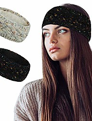 cheap -soft thick knit fleece lined womens cold weather winter headband ear warmer 2 pack value (confetti black/confetti beige)