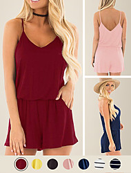 cheap -LITB Basic Women's Off Shoulder Rompers Sleeveless Elastic Waist Loose Solid Colored Romper With Pockets Daily Simple Female Summer Jumpsuits
