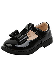 cheap -Girls' Flats Comfort Flower Girl Shoes Children's Day Leather Little Kids(4-7ys) Big Kids(7years +) Daily Party & Evening Bowknot Buckle Black Beige Fall Spring