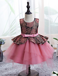 cheap -Ball Gown Knee Length Wedding / Event / Party Flower Girl Dresses - Tulle / Polyester Sleeveless Jewel Neck with Sash / Ribbon / Tier / Pattern / Print