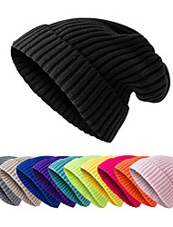 cheap -Women's Men's Hiking Cap Beanie Hat 1 PCS Winter Outdoor Windproof Warm Soft Thick Skull Cap Beanie Solid Color Woolen Cloth Black Purple Yellow for Fishing Climbing Running